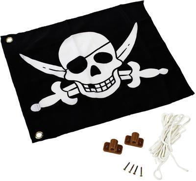 Vlajka textilní - motiv Piráti vč. kování a lana